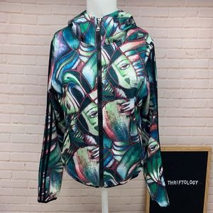ADIDAS Abstract Art Heads Green Zip Up Jacket M